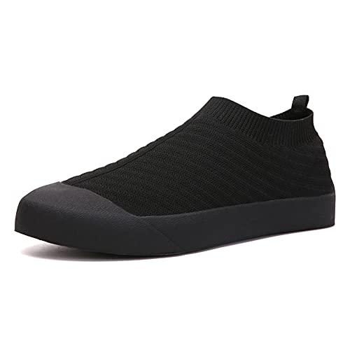 Zapatillas sin Cordones Hombre Mujer Zapatillas Deportivas Transpirables Ligeras Correr Caminar Zapatos de Gimnasia Negro 43 EU