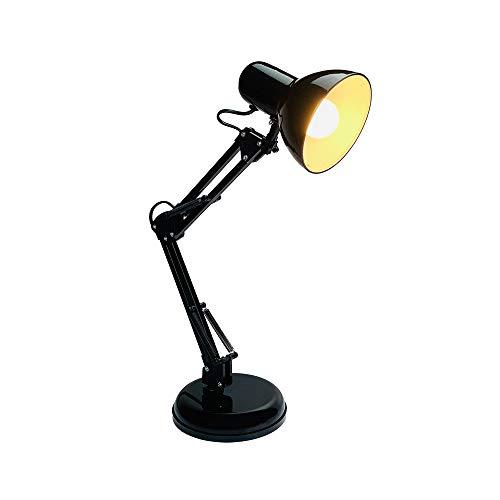 DA LIGHT Retro Tischlampe mit gelenkarm aus Metall, 5.5W LED E14 inkl, Schreibtischlampe Nachttischleuchte Leselampe, Schwarz
