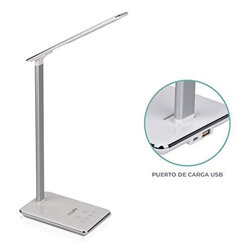 NGUP. LED-bureaulamp met USB-oplader, nachtkastje, studie of kantoor met modern design, aanraakbediening, helderheid en instelbare lichttemperatuur en uitschakeltimer.