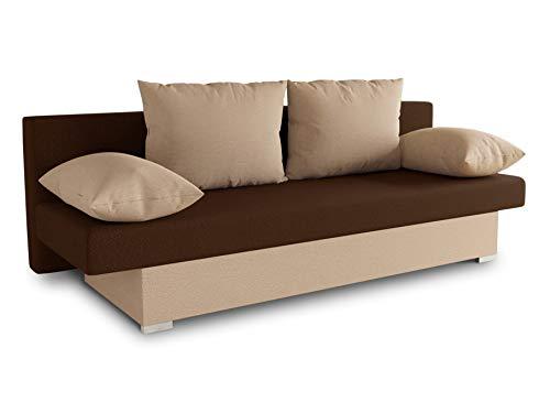 Schlafsofa Tina inklusive Bettkasten - Sofa mit Schlaffunktion, Bettsofa, Couchgarnitur, Couch, Bett, Schlafmöbel (Alova 07 + 68 (Beige + Braun))