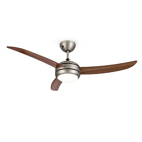 KLARSTEIN El Paso – Ventilador de Techo, 2 en 1: Ventilador y lámpara de Techo, 132 cm de diámetro, 3 aspas, caudal de 10.344 m³/h, 3 velocidades, marrón Chocolate