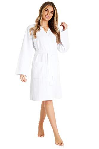 Bata de algodón Puro Bata de Mujer Gofono Kimono Ligero para Mujer Traje (S, Blanco)