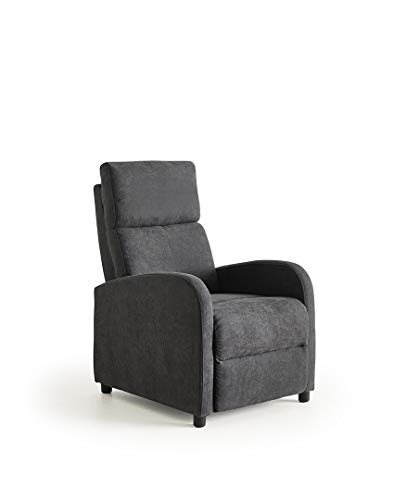 ConfortChoice - Poltrona Leiria in Tessuto, reclinabile manueale, con Poggiapiede, Grigio