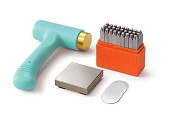 ImpressArt Metal Stamping Kit for Jewelry Making - Basic Uppercase Alphabet  3MM  Metal Stamps Set Ergo-Angle Hammer Steel Bench Block Stamping Blanks