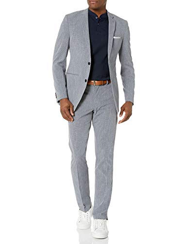 Perry Ellis Men's Slim Fit Machine Washable TECH Suit, Medium Grey Solid, 42 Regular