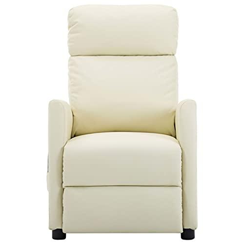 Foecy Sillón de masaje eléctrico, sillón relax eléctrico, sillón de masaje, sillón de masaje para salón, TV, masaje de vibración, 6 puntos, color crema y piel sintética
