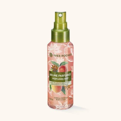 Yves Rocher LES PLAISIRS NATURE Duftspray Pfirsich-Sternanis, Erfrischungsspray für Körper & Haare, 1 x Pump-Flacon 100 ml