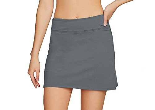 Women's Casual Pleated Tennis Golf Skirt with Underneath Shorts Running Skorts gy m Grey