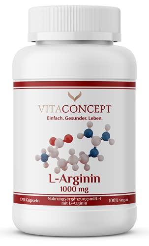 L-Arginin Kapseln Hochdosiert I 1000 mg pro Kapsel I nur 3 Kapseln täglich I 98,7{331837b7a32fd1c322ae85ec369f66e0d097879d72ea310d916c9269f7a96f37} reines L-Arginin I Laborgeprüft, Vegan und Made in Germany I VITACONCEPT