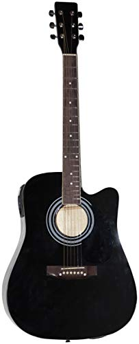 Johnny Brook - Kit de guitarra semiacústica con amplificador de 20 W, color negro