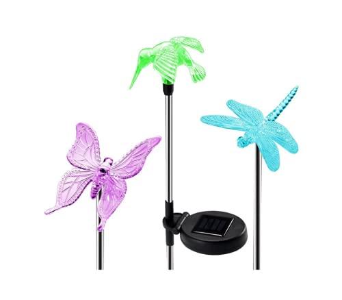 Luces LED de 3 piezas, luces solares de jardín al aire libre, luces LED multicolores, luces de jardín, luces solares de mariposa
