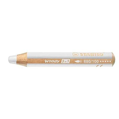 1 x STABILO Woody 3 in 1 Multi-Talented Jumbo Pencil - White (880/100)