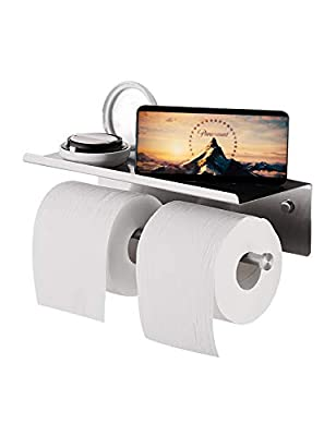 YUMORE Toilet Paper Holder, SUS 304 Stainless Steel Wall Mount Lavatory Tissue Holder for Bathroom, Kitchen, Brushed Finish
