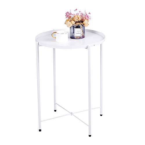 Beliwin Small Metal Round Table Side Coffee Table Modern Storage Sofa End Table with Tray for Living Room Bedroom (White)