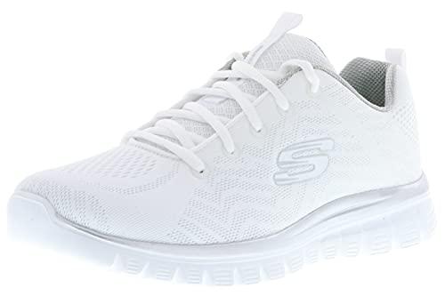Skechers 12615/WSL Graceful-Get Connected - Zapatillas deportivas para mujer, color blanco y plateado, Blanco, 42 EU