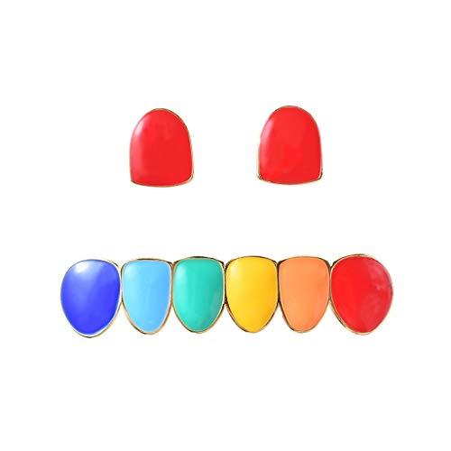 Geef nooit op Hip-hop kleurrijke beugels Twee tanden combinatie beugels Echt goud hip-hop beugels Halloween tanden