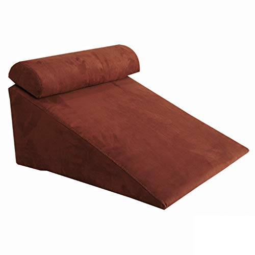 Bed Wedge Pillow Back,Adjustable Memory Foam Top 24 X 26 X 12 Inches Best for Sleeping, Reading, Rest Or Legs Elevation Breathable and Washable Cover -12 Inch Wedge, Gray (Color : Brown)