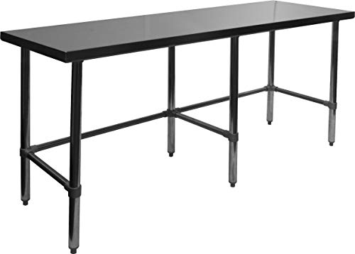 """ACE Equipment Open Base All Stainless Steel Flat Top Work Table 30""""W x 96""""L x 35""""H, ETL Certified, WT-P3096B"""