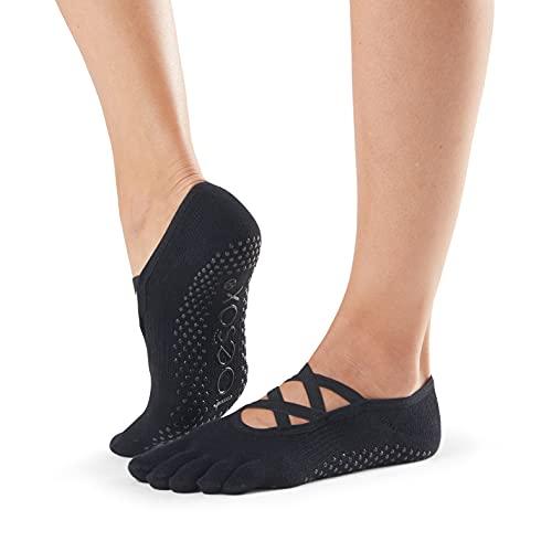 Toesox Calcetines unisex para yoga y pilates, Unisex, calcetines con agarre para Yoga y Pilates, YTOEWTELLEBLACK-S, negro, S