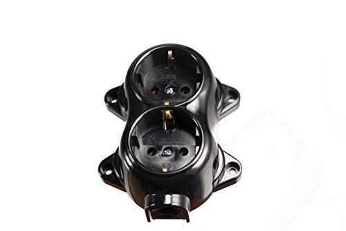 Carcasa de interruptor de luz de pared vintage Schuko, redondo, retro, 2 enchufes, negro
