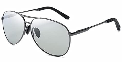 ZHOUSAN Aviación Metail Marco Gafas de sol polarizadas Hombres Cambio de Color Gafas de Sol Piloto Hombre Día Visión Nocturna Conducción