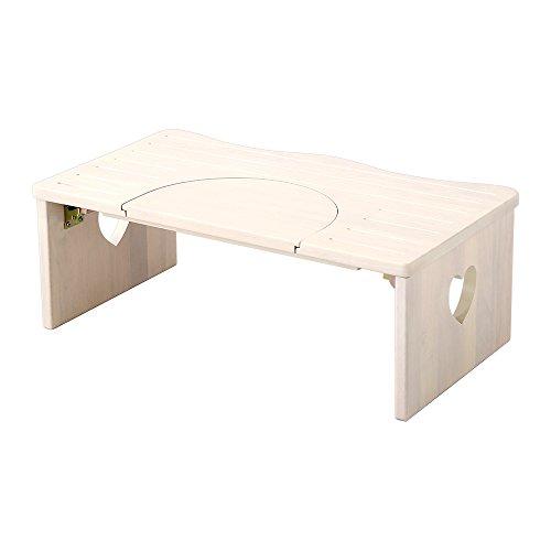 かわいい トイレ 子ども踏み台 ホワイトウォッシュ(木製・折りたたみ式・29cm)ハート柄で子供や女の子に人気