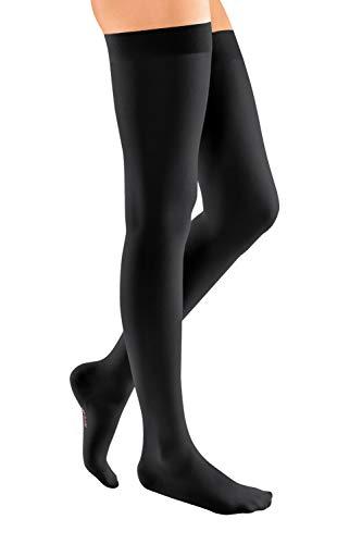 medi mediven elegance - 0259514 Oberschenkellange Damen Kompressionsstrümpfe mit geschlossener Spitze | CCL2 | Noppen-Haftband | Schwarz | Gr. IV kurz