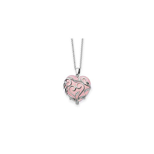 925 Sterling Silver Rose Quartz Generous Heart 18 Inch Chain Necklace Pendant Charm Love Inspirational Fine Jewelry For Women Gifts For Her