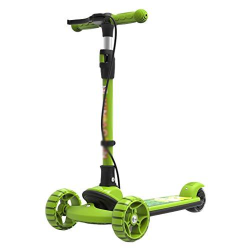 Patinete 3 Ruedas de Scooter para Niños para Niños Niñas Manillar Ajustables Magro para Dirigir el Scooter Plegable Scooter PU Ruedas Intermitentes (Color : Green)
