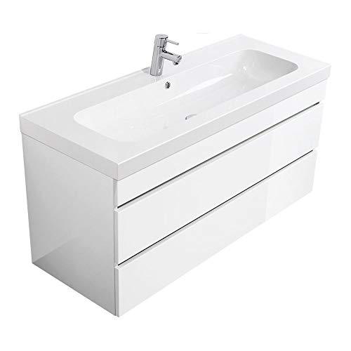 Lomadox Waschtisch-Unterschrank mit 120cm Waschbecken in Hochglanz weiß