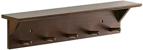 Aan de muur bevestigde Coat Hook, huishouden Multifunctionele Kapstok Planken kapstok Rack Waterproof Mold for Gang slaapkamer keuken koffie kleur B 70cm, Grootte: 60cm, Kleur: Hout Kleur een