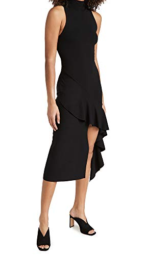 Alice + Olivia Women's Angelia Double Knit Ruffle Dress, Black, Small