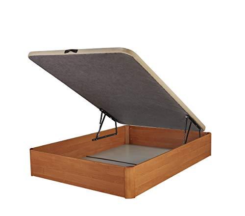 DHOME Canape Abatible Tapizado 3D 4 válvulas Maxima Calidad Esquinas canapé Madera (90x190 Nogal, 22mm)