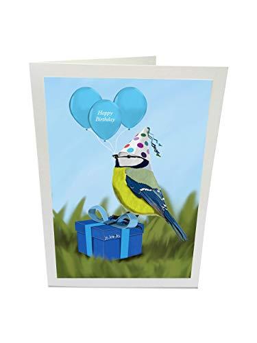 jz.birds Vogelmotiv Geburtstagskarte Glückwunschkarte zum Geburtstag Blaumeise feiert Party Grußkarte mit Umschlag