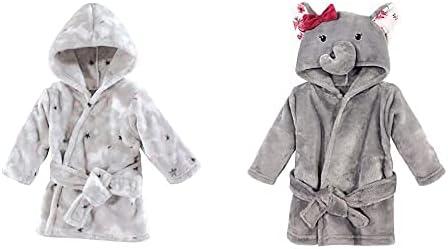 Hudson Baby Girl Plush Animal Face Bathrobe 2-Pack, Gray Whimsical Unicorn Gray Rose Elephant