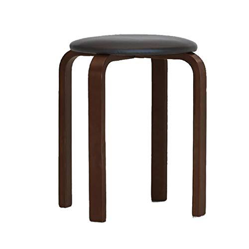ZZST Eetstoel Dressing Tafel Make-up Kruk Volwassen Kinderstoel Stapelbaar PU Lederen Dikke Sponge Seat Massief Hout Benen Voetbank