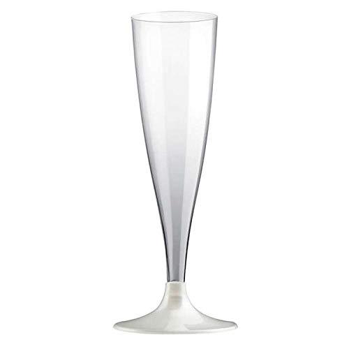 Chal - 20 Flûtes Champagne Pied Blanc perlé