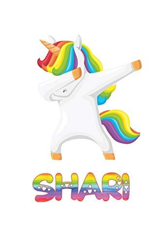 Shari: Shari 6x9 Journal Notebook Dabbing Unicorn Rainbow