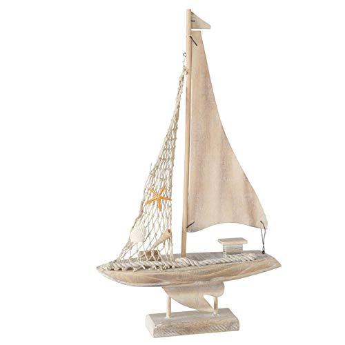 CasaJame Figura decorativa de madera, barco velero, 43 cm de altura, natural con estrella de mar, conchas, red de pesca y cordón