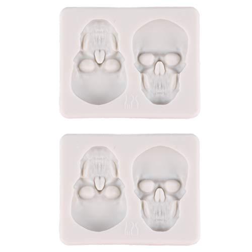 Artibetter 2 Pcs Halloween Cuisson Moule Bricolage Crâne Squelette Tête Chocolat Fondant Glaçon Moule De Cuisson Gadget Halloween Party Favors pour Enfants en Bas Âge