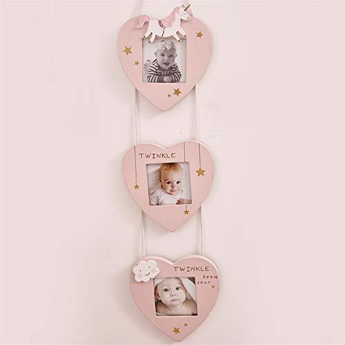 Ommda Fotolijst meerdere foto's hout met glazen fotolijst staander baby collage voor muur Home Deko 7.5x7.5cm 3 Fotos roze