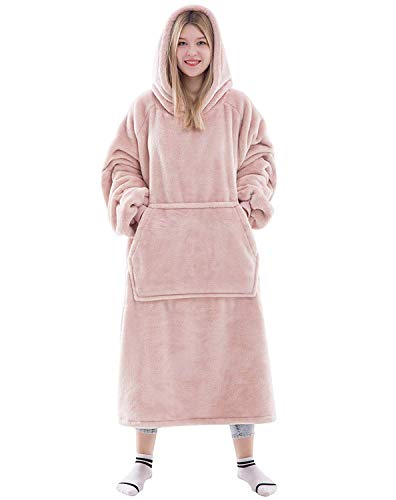 Waitu Wearable Blanket Sweatshirt for Women and Men, Super Warm and Cozy Big Blanket Hoodie, Thick Flannel Blanket with Sleeves and Giant Pocket - Pink
