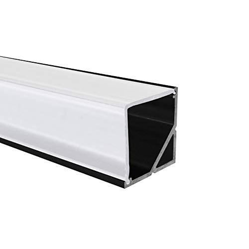 Perfiles de aluminio negro LED esquina de 90con protectora Opal semi transparente o blanca difusa transparente de alumino® 20015010050cm, Alu + Abdeckung (Opal / Milchig) 1,5m