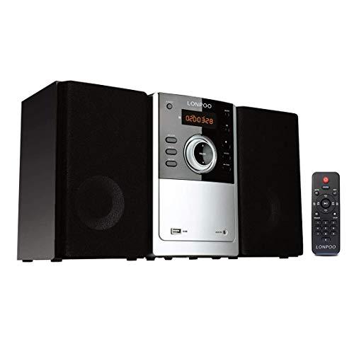 Micro Sistema de Audio para el hogar 30W, Microcadena Compacta Hi-Fi con Bluetooth, Reproductor de CD, USB, Radio FM, Entrada Auxiliar y Mando a Distancia