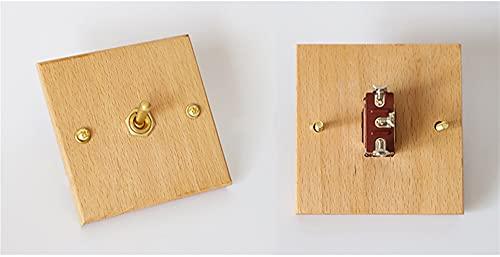 Interruptor de pared 86 Tipo de pared de pared interruptor de palanca de madera Sólido palanca de latón 2 vías 1-4 Interruptor retro de pandillas Estilo nórdico 15A250V Interruptores de palanca