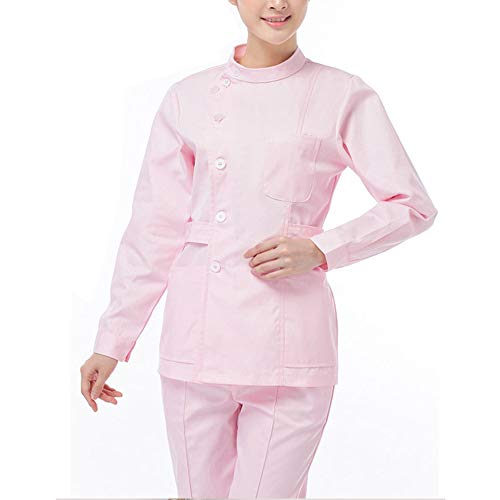 Frauengesundheitswesen-Kleidertunika Medizinische Uniformen Set Frauenkrankenhaus Langarm Kurzarm Stehkragen Top + Hosen Arbeitskleidung Outfit,Long,M