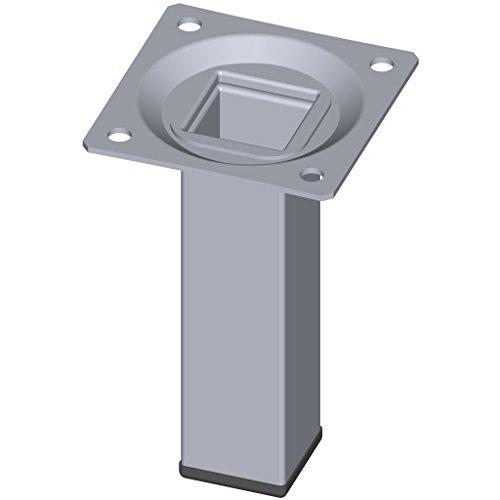Element System 4 Stück Stahlrohrfüße eckig / Tischbeine / Möbelfüße / inkl. Anschraubplatte / L 10 cm / chrom / 4 Farben / 10 Abmessungen