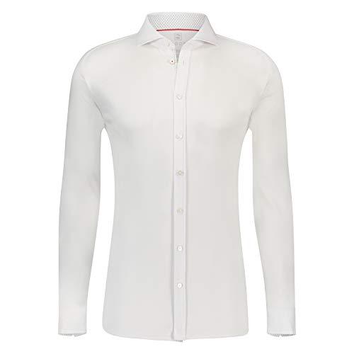 DESOTO Herren Langarm Hemd mit Haifisch-Kragen - BÜGELFREI - Weiß (Uni White 001) Gr. XXL (45/46)