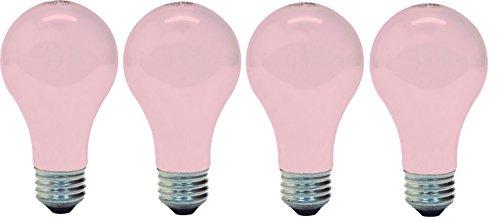 GE Lighting 97483 A19 Light Bulb, 60 Watt, E26 Medium Base, Soft Pink, 4 Pack