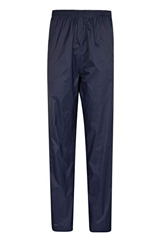 Mountain Warehouse Pakka Womens Waterproof Over Trousers - Packaway Bag, Breathable Rain Pants, Hook & Loop Ankle Opening Ladies Rainwear - for Travelling, Outdoor Navy 14